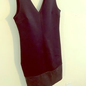 Topshop black dress with leather trim